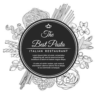 Cartaz de restaurante de massa italiana desenhada de mão