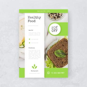 Cartaz de restaurante deliciosa comida saudável com foto