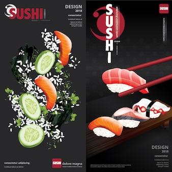Cartaz, de, restaurante sushi, ilustração