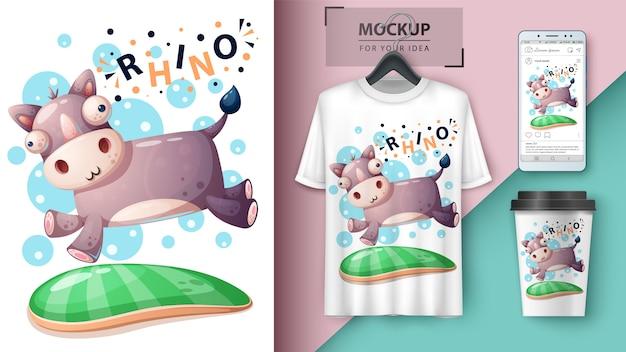 Cartaz de rinoceronte e merchandising