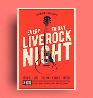 Cartaz de rock live night com panfleto de promoção de música ao vivo