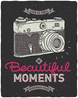 Cartaz de rotulação de câmera vintage