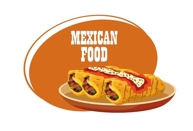 Cartaz de rotulação de comida mexicana com burritos no prato.