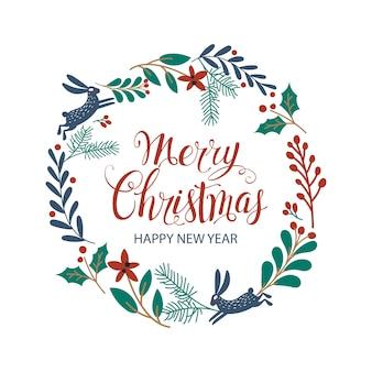 Cartaz de rotulação de mão desenhada feliz natal. cartão de felicitações. guirlanda de natal.