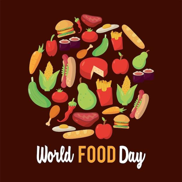 Cartaz de rotulação do dia mundial da comida com comida em desenho de ilustração de moldura circular