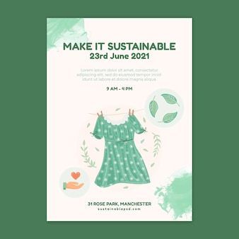 Cartaz de roupas sustentáveis para o meio ambiente