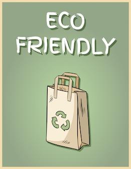 Cartaz de saco de papel amigável de eco. frase motivacional.