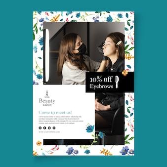Cartaz de salão de beleza com foto