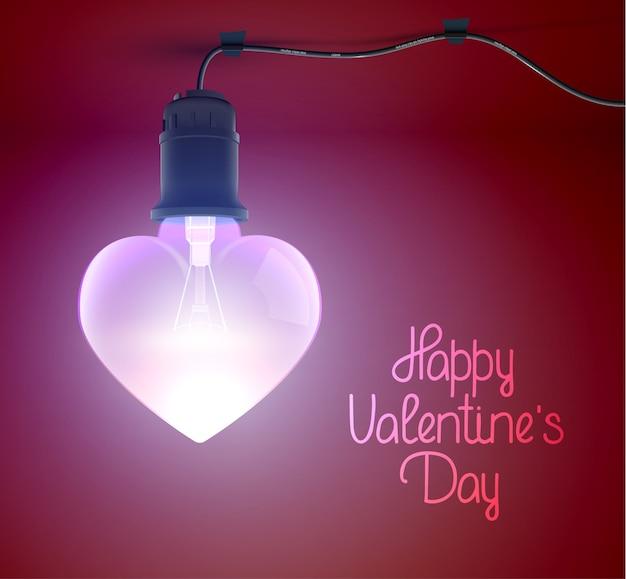 Cartaz de saudação amoroso elegante com inscrição caligráfica e lâmpada incandescente pendurada realista em forma de coração.