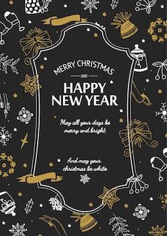 Cartaz de saudação de feliz natal com texto em moldura elegante e ilustração em vetor símbolos tradicionais festivos desenhados à mão