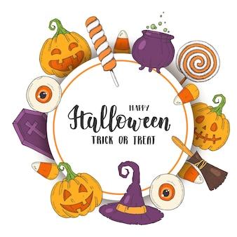 Cartaz de saudação de halloween com abóbora jack desenhado à mão, chapéu de bruxa, vassoura, doces, milho doce, doces, pirulitos, caixão, pote com poção no estilo de desenho. letras-