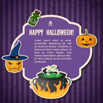 Cartaz de saudação tradicional abstrato de halloween com texto no quadro, abóboras bruxa chapéu caldeirão e garrafa de poção