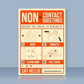Cartaz de saudações sem contato
