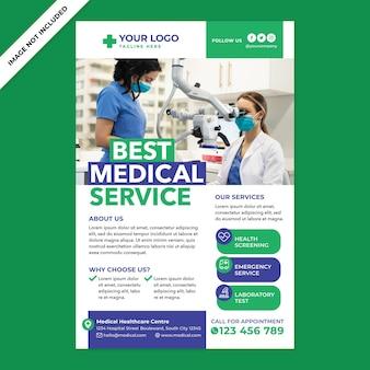 Cartaz de serviço médico em estilo design plano
