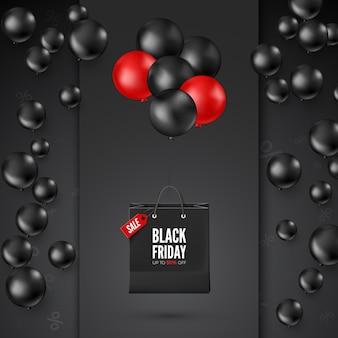 Cartaz de sexta-feira negra com oferta de desconto. balões pretos e vermelhos com sacola de compras. desenho de banner da web.