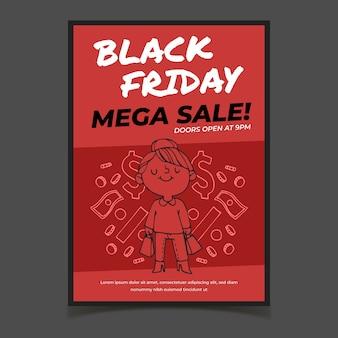 Cartaz de sexta-feira negra desenhada de mão