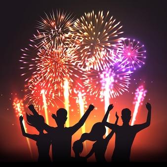 Cartaz de silhuetas humanas festivo preto de fogo de artifício