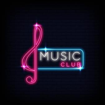 Cartaz de símbolo de emblema de sinal de logotipo do clube de música neon