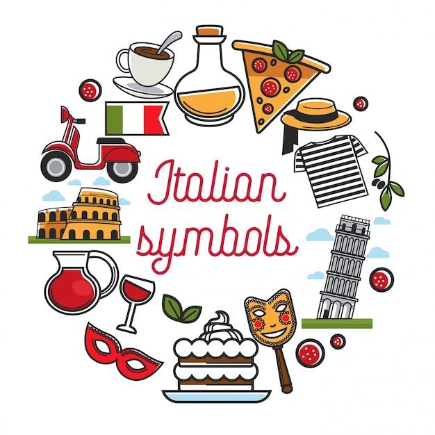 Cartaz de símbolos italianos com arquitetura nacional e cozinha