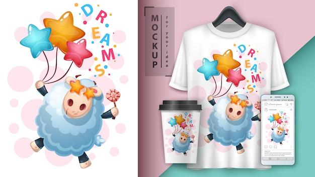 Cartaz de sonho de cordeiro e merchandising
