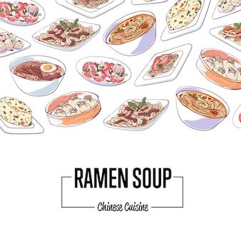 Cartaz de sopa de ramen chinês com pratos asiáticos