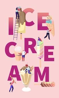 Cartaz de sorvete com pessoas segurando casquinhas de sorvete