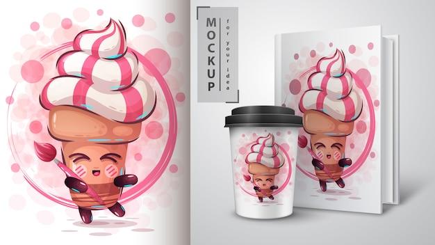 Cartaz de sorvete de artista e merchandising