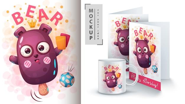 Cartaz de sorvete de urso e merchandising