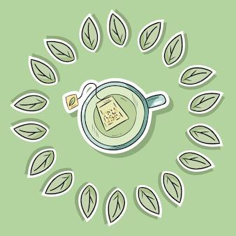 Cartaz de spa amigável de eco com chá verde Vetor Premium