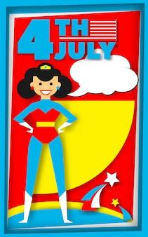 Cartaz de super herói em estilo retro para 4 de julho