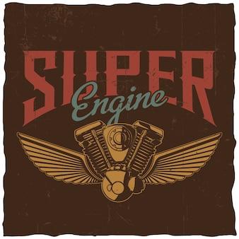 Cartaz de super motor com peça sobressalente de motocicleta desenhada à mão e duas asas