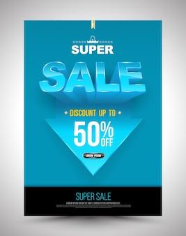 Cartaz de super promoção azul desconto até 50% com seta