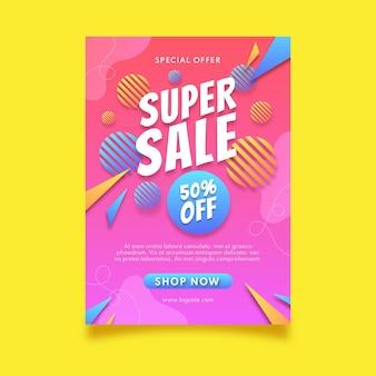 Cartaz de super venda gradiente