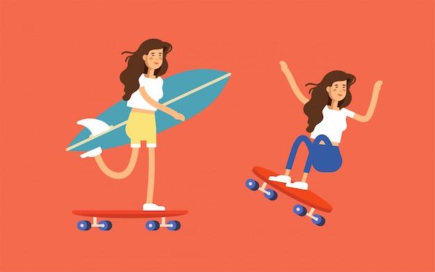 Cartaz de surf com um skatista de menino andando de skate carregando prancha de surf.