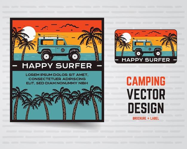 Cartaz de surf e logotipo.