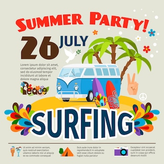 Cartaz de surf hippie