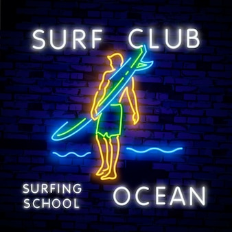 Cartaz de surf no estilo de néon