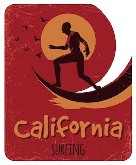 Cartaz de surfe na califórnia com design de etiquetas para camisetas e cartões comemorativos