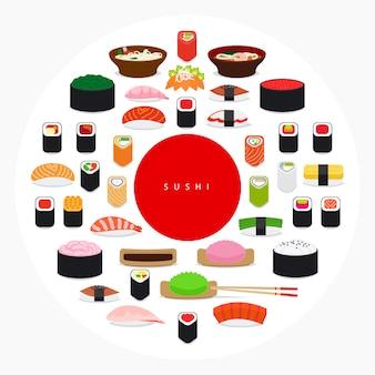 Cartaz de sushi de comida japonesa