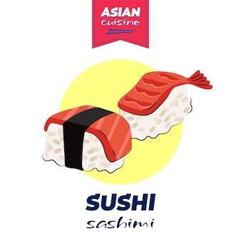 Cartaz de sushi e sashimi de comida japonesa desenhado à mão, prato nacional de japão, arroz e peixe cru e