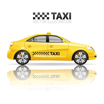 Cartaz de táxi com carro de serviço público amarelo realista com reflexão