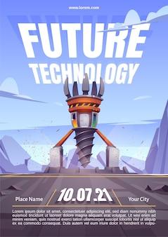 Cartaz de tecnologia do futuro com equipamento de perfuração