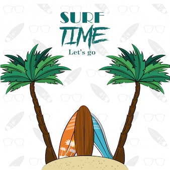 Cartaz de tema de tempo de surf