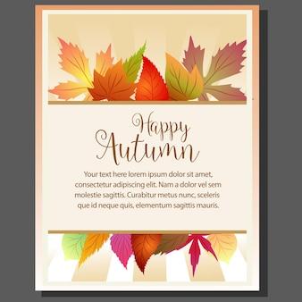 Cartaz de tema outono feliz com folhas sazonais