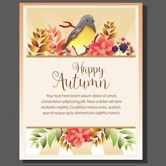 Cartaz de tema outono feliz com o canto dos pássaros