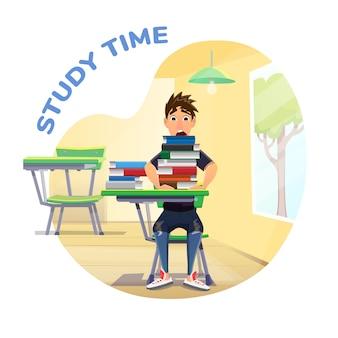 Cartaz de tempo de estudo com pilha de livros e aluno