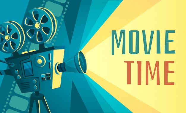 Cartaz de tempo de filme. projetor de cinema vintage, cinema em casa e ilustração de câmera retro