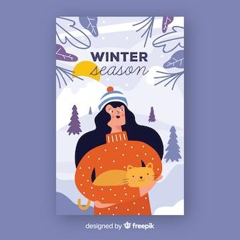 Cartaz de temporada de inverno desenhada de mão