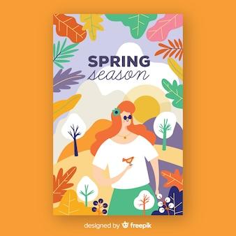 Cartaz de temporada de primavera desenhada de mão
