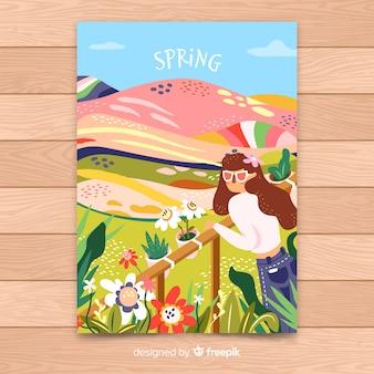 Cartaz de temporada de primavera desenhada mão colorido